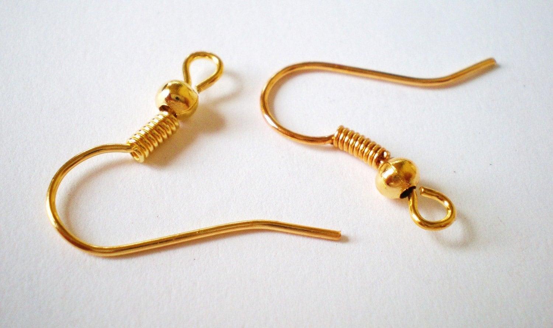 Gold earring hooks 18mm 30 pr french style earring
