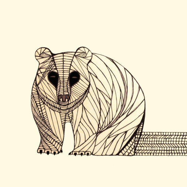 BEAR ART PRINT Native Animal Line Drawing by Thailan When
