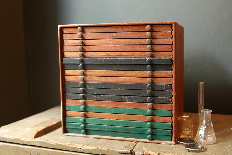 Vintage Wood Storage Cabinet Coins Stamps