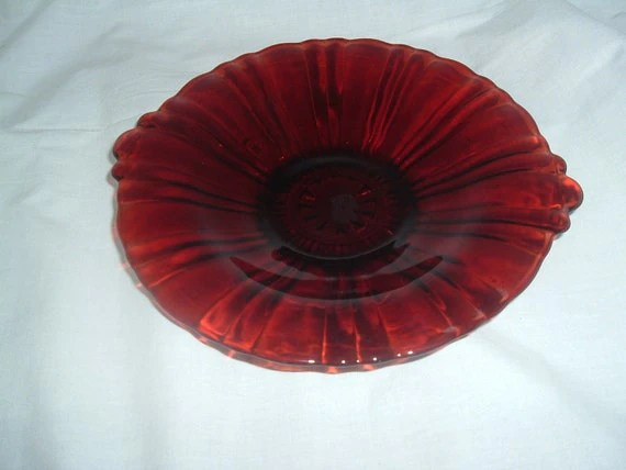 RUBY RED Glass Serving Canape PLATE Scalloped Handled