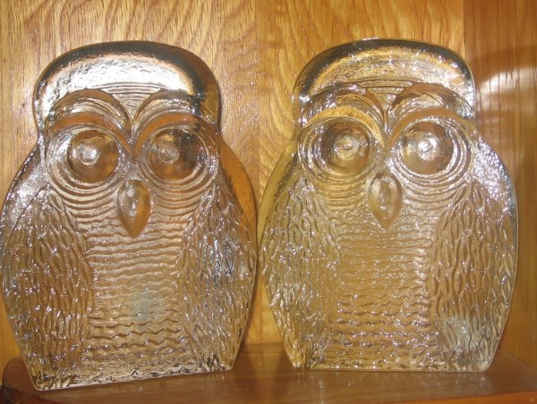 Heavy Vintage Blenko Clear Glass Owl Bookends Joel Myers