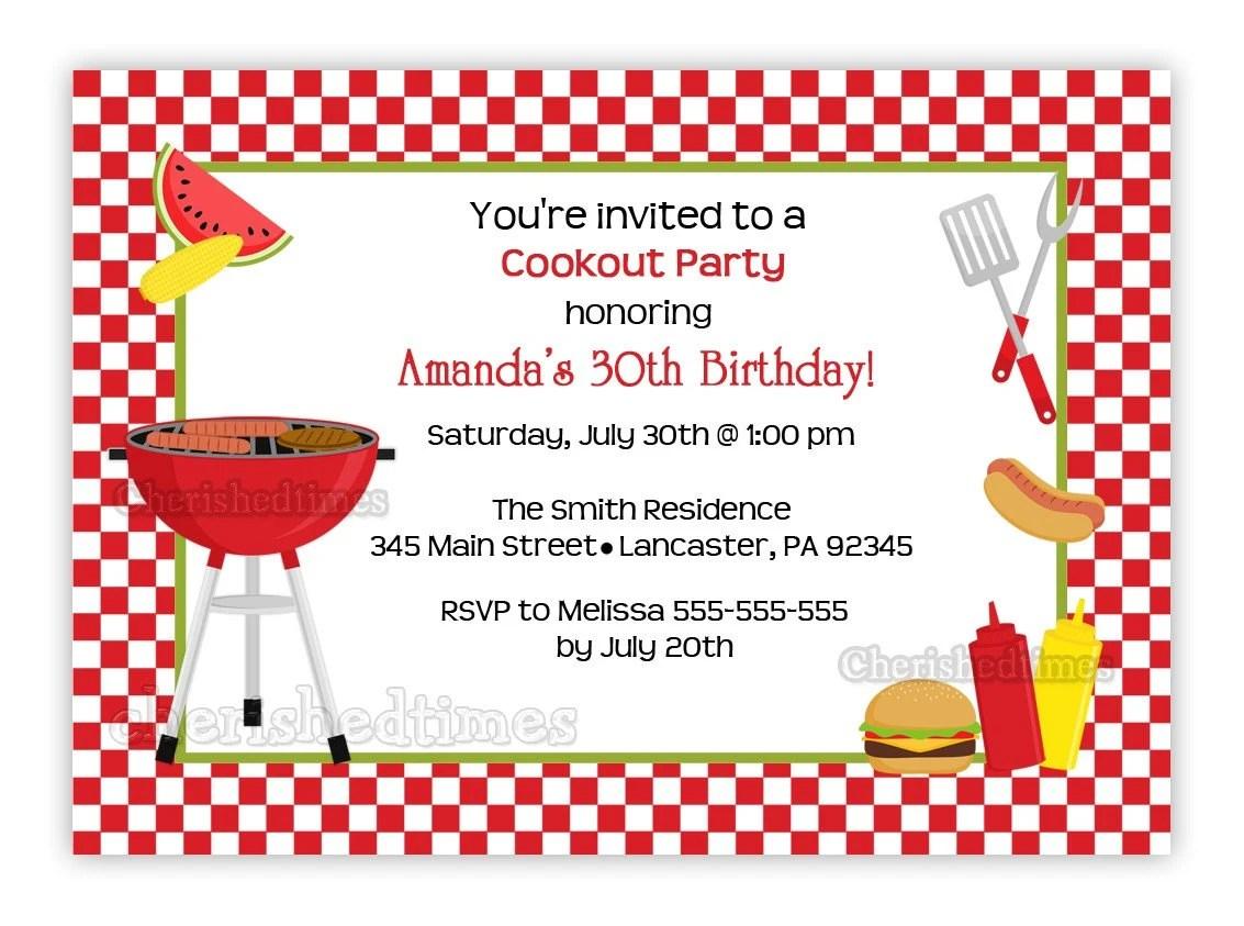 Barbecue Toute Invitation Anniversaire Impression