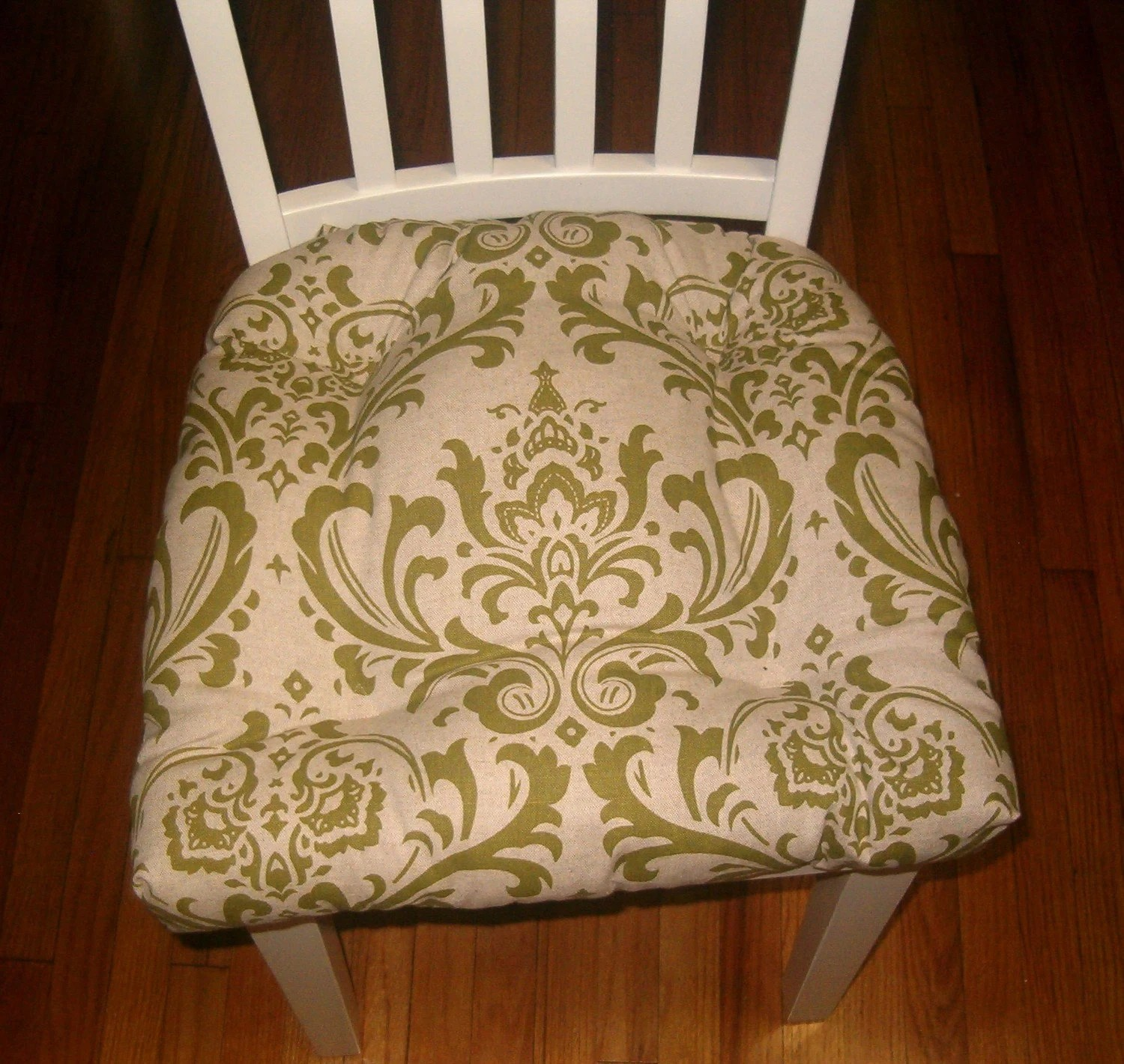 green chair cushions folding beach chairs target australia set of 4 olive damask pads tufted seat cushion