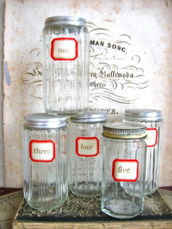 5 Vintage Spice Jars