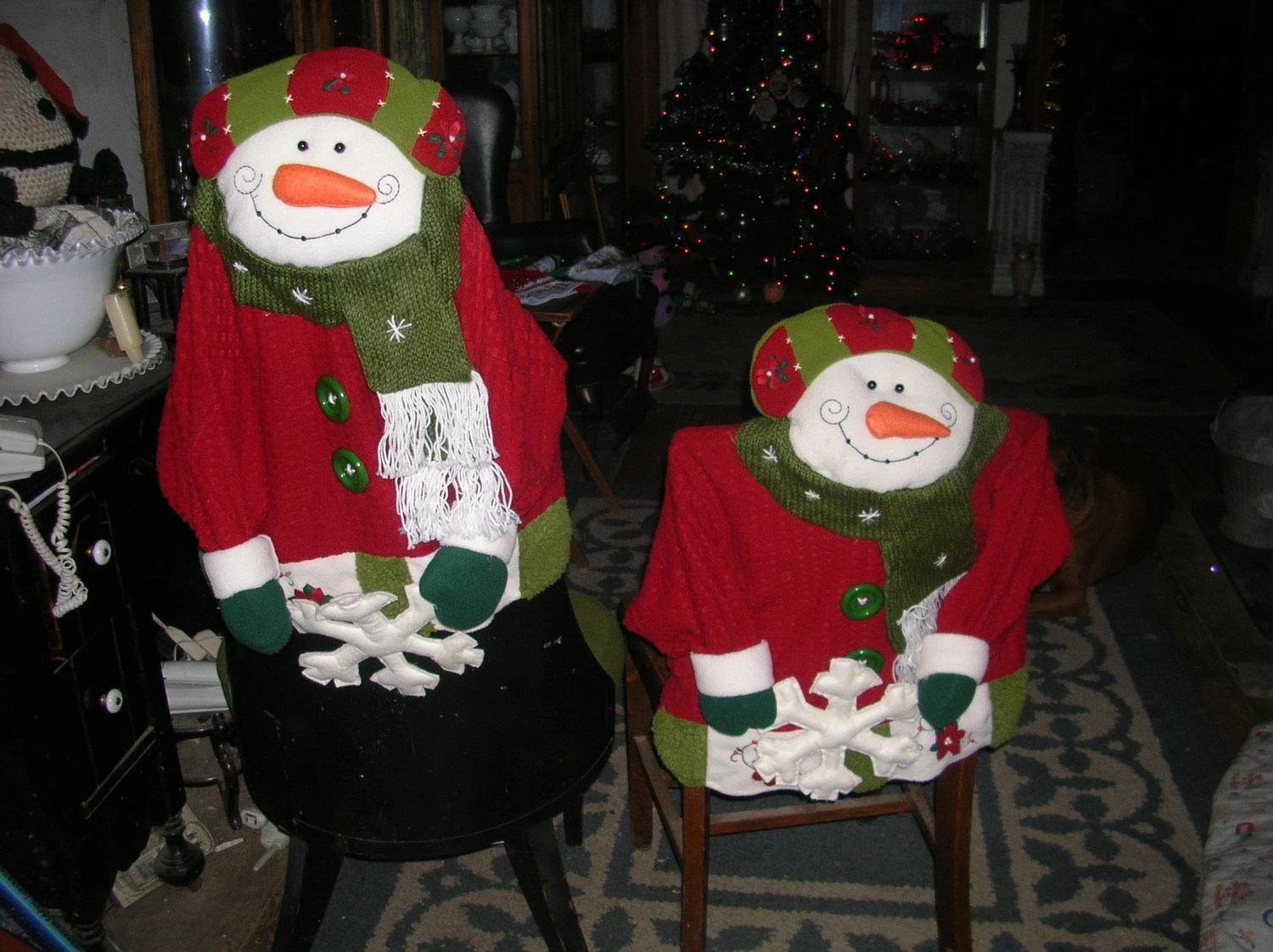 christmas chair covers big w folding chairs sale 2 snowman by plumcrazy4shoes on etsy
