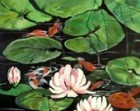Art Original Acrylic Painting, Fish Pond with lilies,Koi,Goldfish,lily Pads 20 x 20 canvas        I take CREDIT CARDS