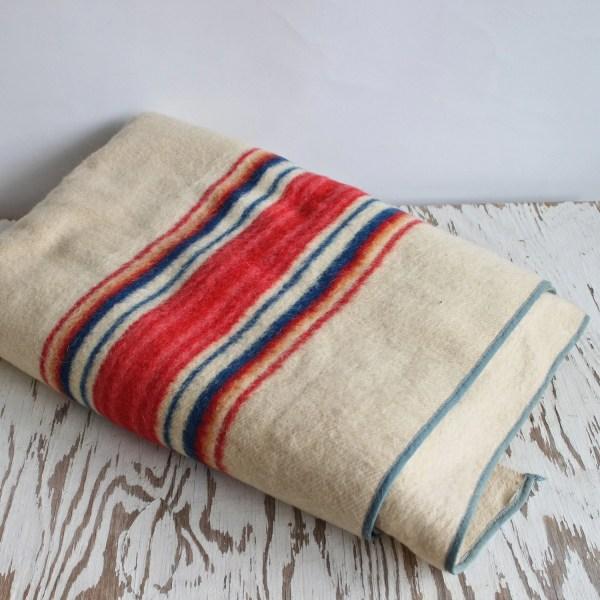 Vintage Striped Wool Camp Blanket