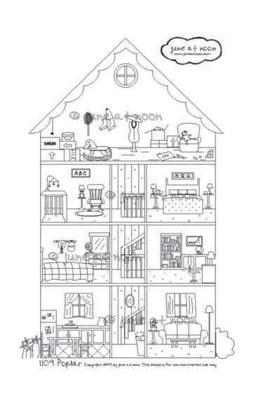 1109 Poplar house cross-section embroidery pattern