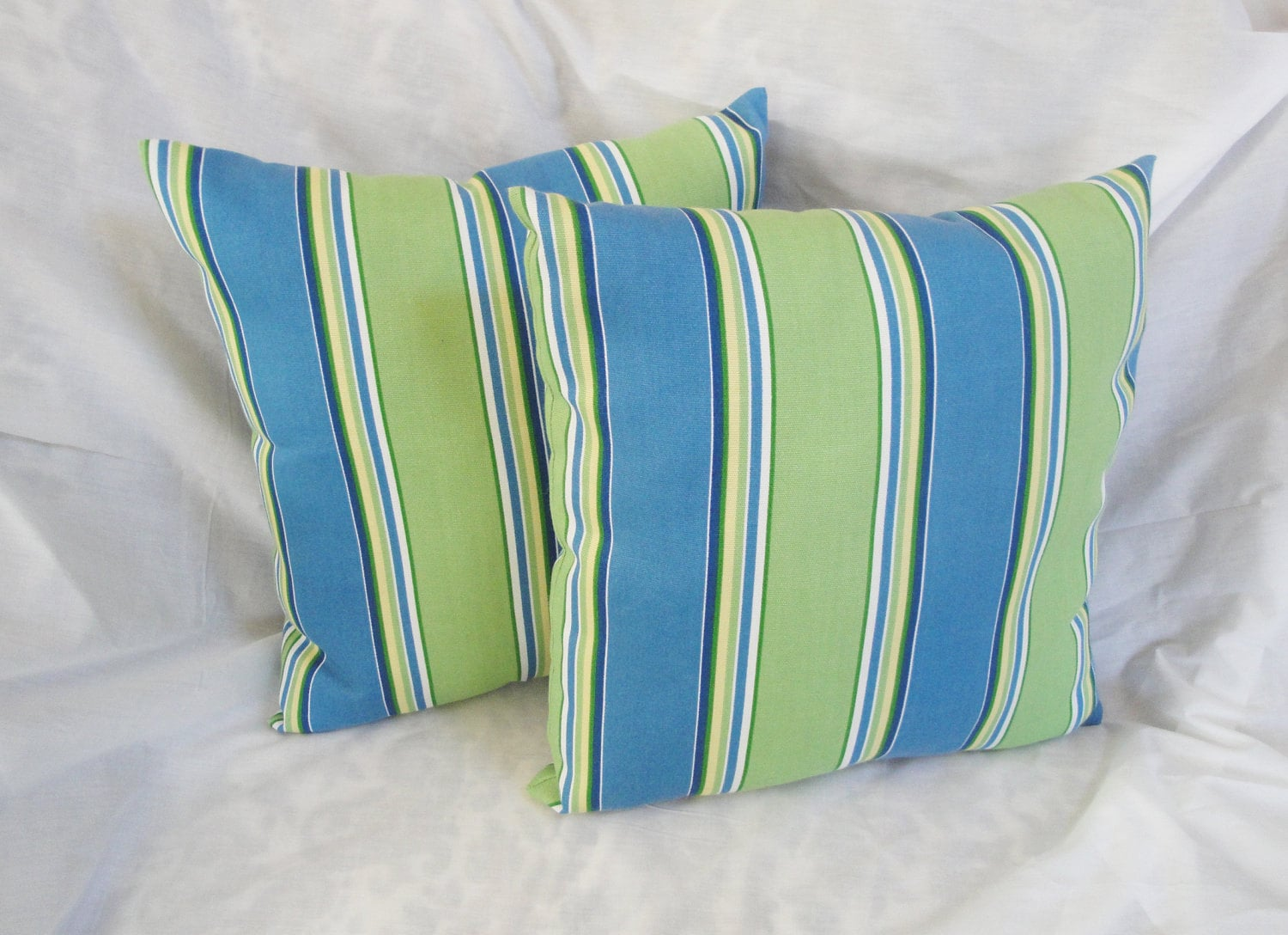Striped Outdoor Pillow Set Blue Green Patio Chair Cushion