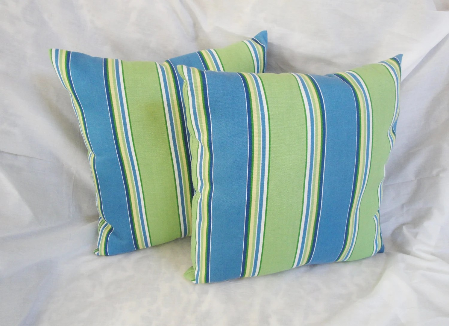 fabrics for chairs striped high top patio and table outdoor pillow set: blue green by sewninspirations