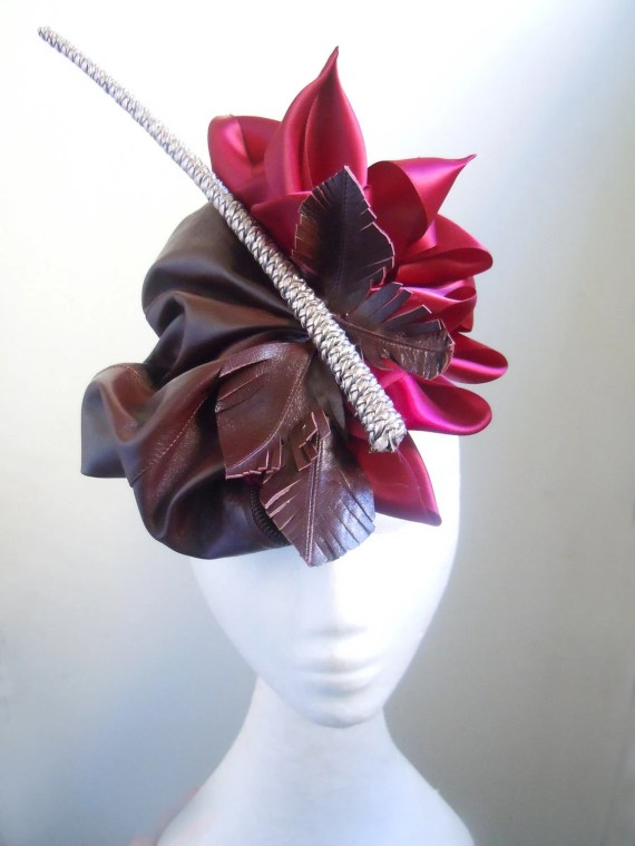 Steampunk Brown Leather Hand Sculpted Beret- Handmade Millinery by Natalilouise Millinery - NataliLouise