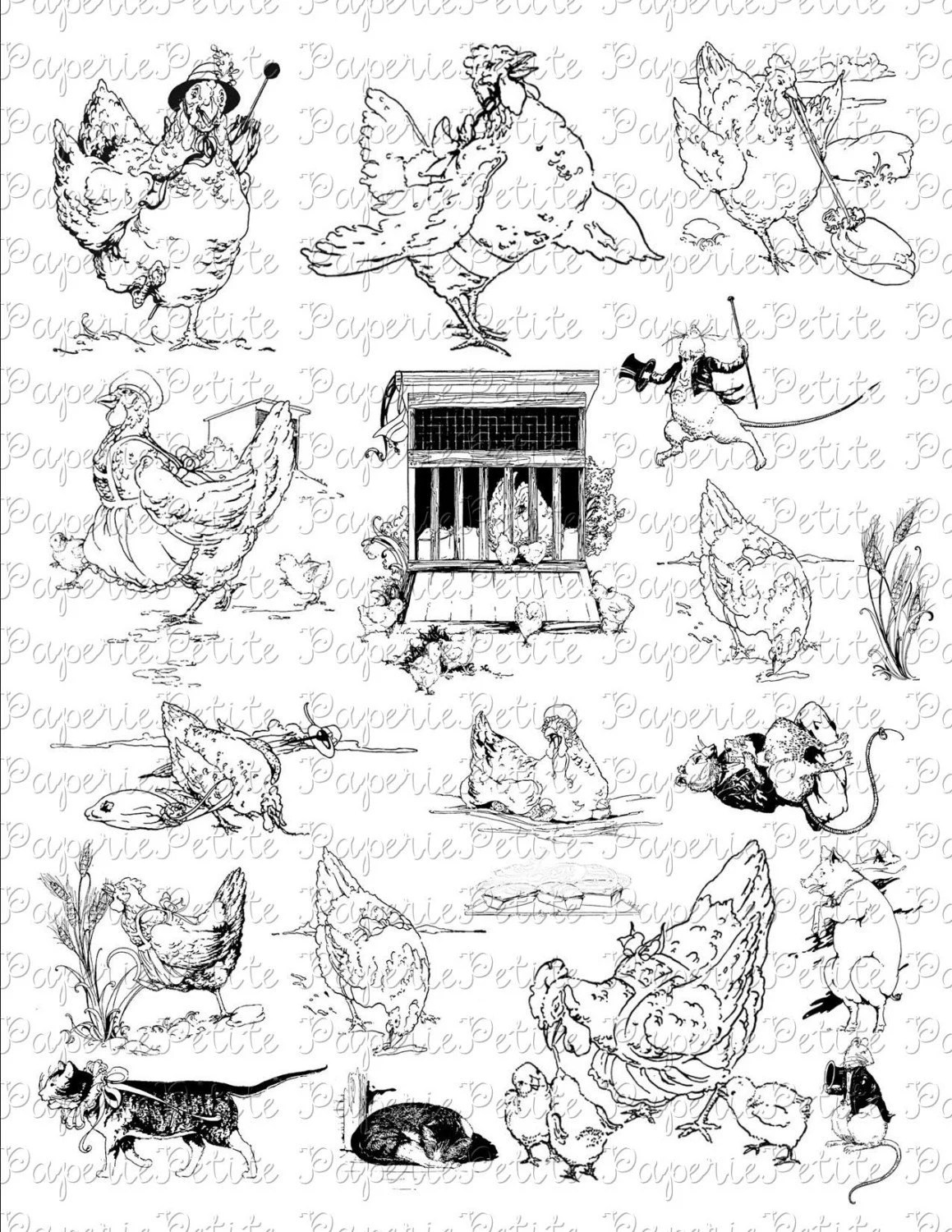 Black and White Little Red Hen Collage Sheet