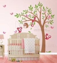 Swaying Tree birdhouse Wall decal Squirrel Wall Decals Wall