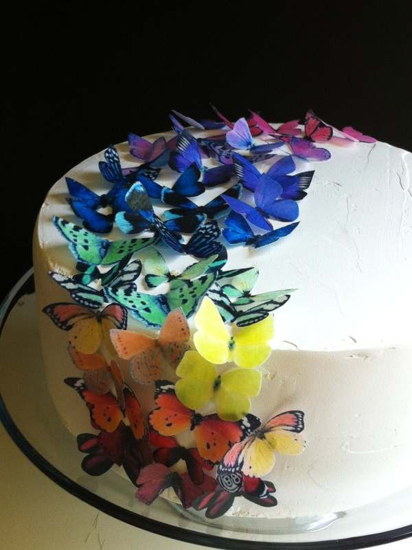 Wedding Cake Topper Edible Butterflies Original Rainbow