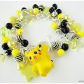 Pikachu kawaii charm bracelet with black and yellow by gatumi
