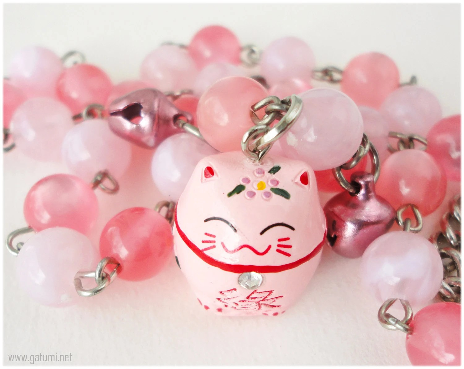 Pink Maneki Neko Necklace with Bell Charms Kawaii Jewelry