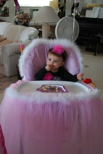 Princess Throne High Chair Cover and Tulle by DivaBabyDesigns