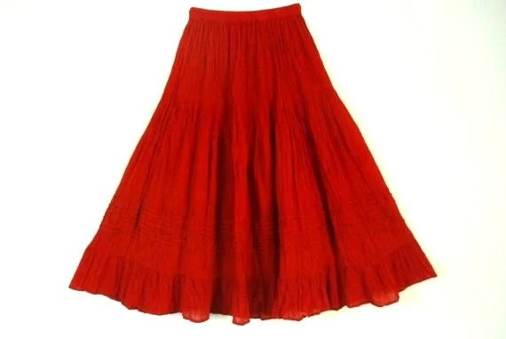 Mexican Red Skirt Comfortable Elegant Summer by