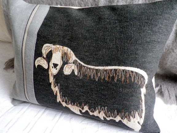 Hand printed linen charcoal sheep cushion