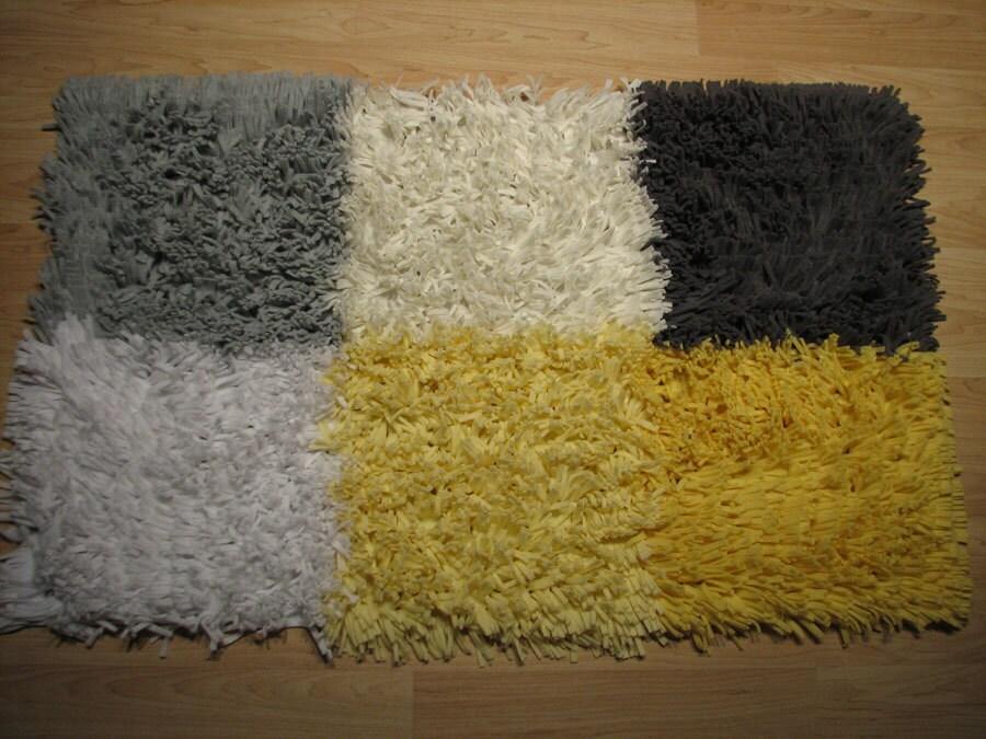 Yellow and Gray Nursery Shag Rug