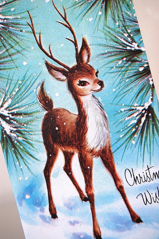 Vintage Christmas Card Woodland Deer In The Pines 1950s Set Of