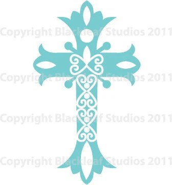 Fancy Cross Art Blue Clip