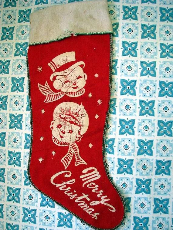 WONDERFUL Vintage Kitsch Felt Christmas Stocking