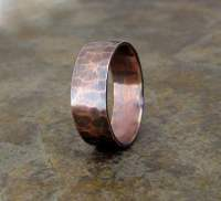 Items similar to Copper Hammered Ring Wide Oxidized ...