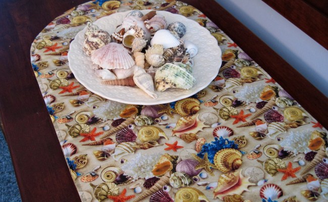 Short Seashell Table Runner 36 Inch Reversible Table Runner