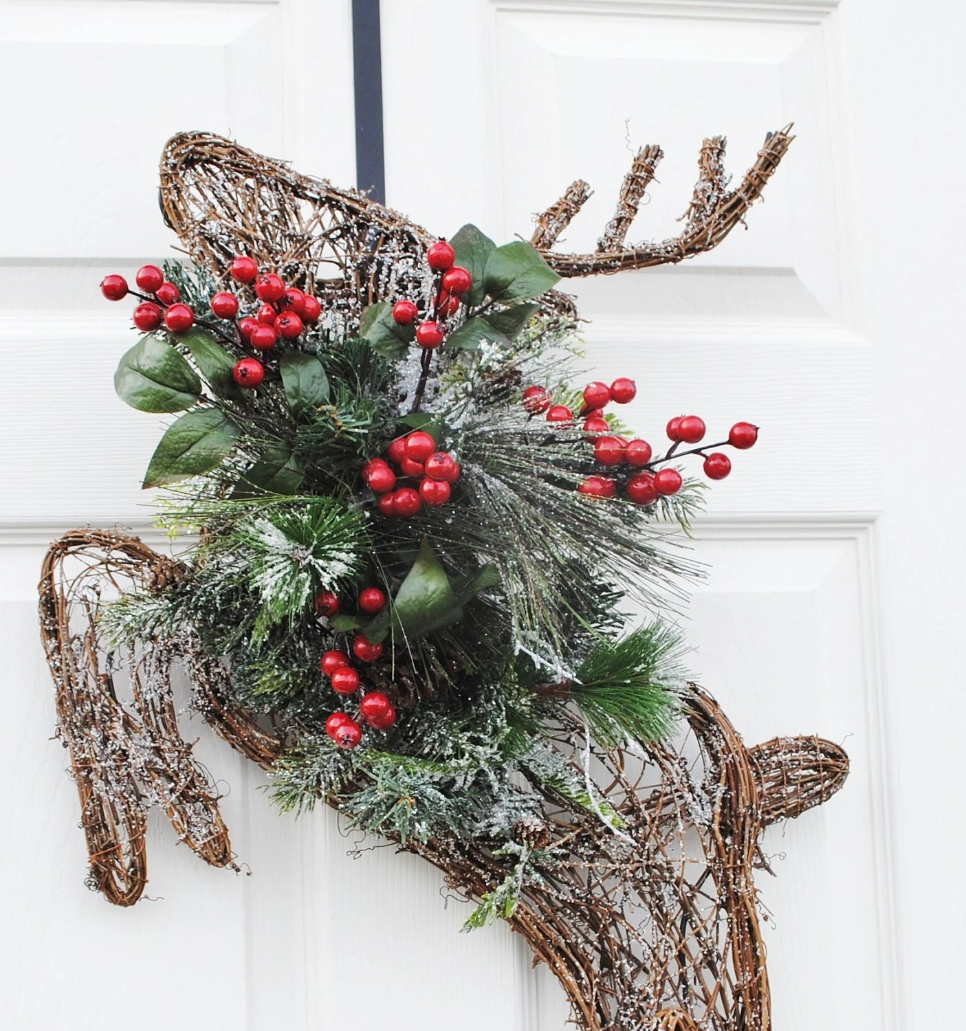 Christmas Wreath Grapevine Reindeer Wreath For Front Door