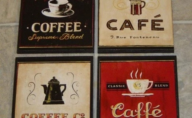 4 Coffee Cafe Wall Plaques Pictures Signs Kitchen Or