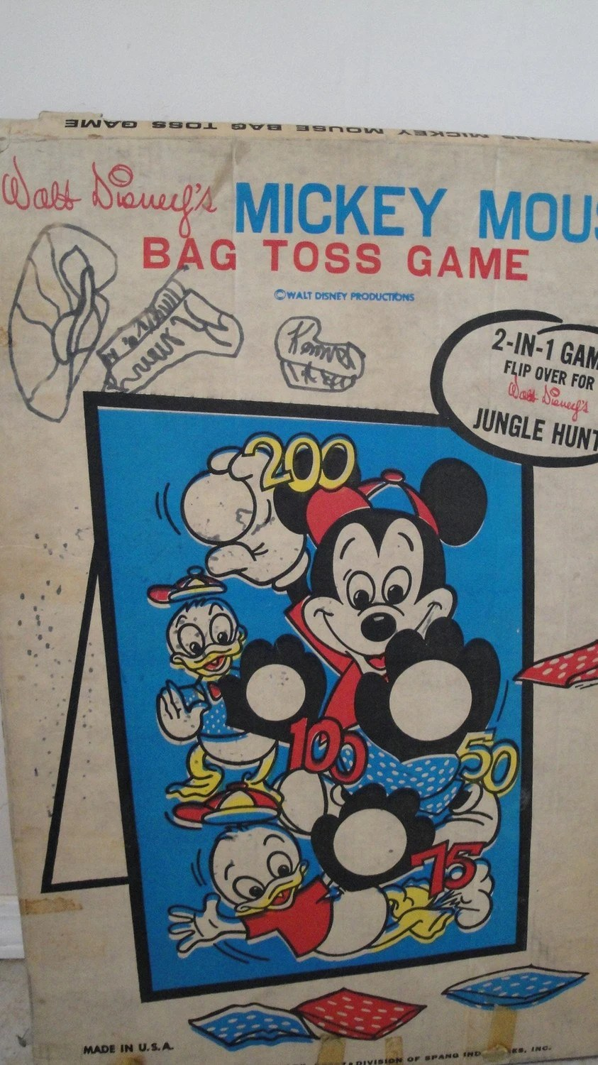 Vintage Mickey Mouse Bean Bag Toss Game Jungle Hunt by