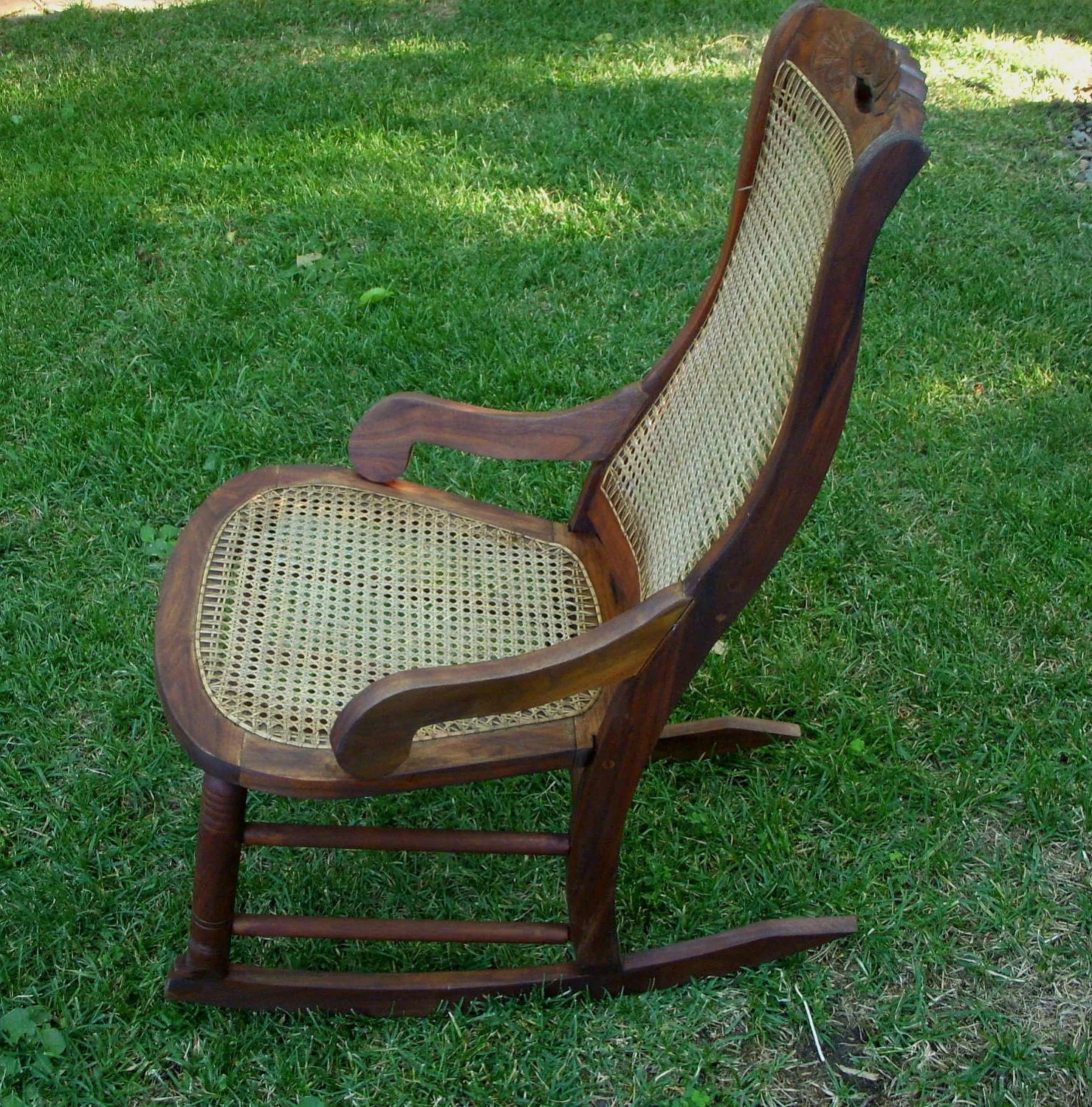 Vintage Wooden Chairs Antique Rocking Chair Wood And Cane Seat By Honeystreasures