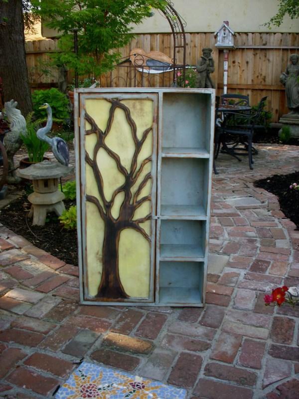 Rustic Furniture Wood Shelf Oak Tree Cabinet Artistic