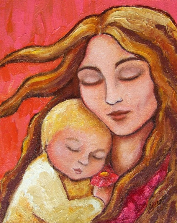 Mother And Child Gritty Painting Giclee Le Artbylisamnelson