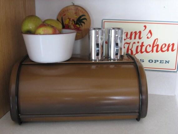 Coppertone Brown Vintage Metal Bread Box