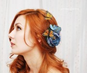 butterfly hair clip blue rose