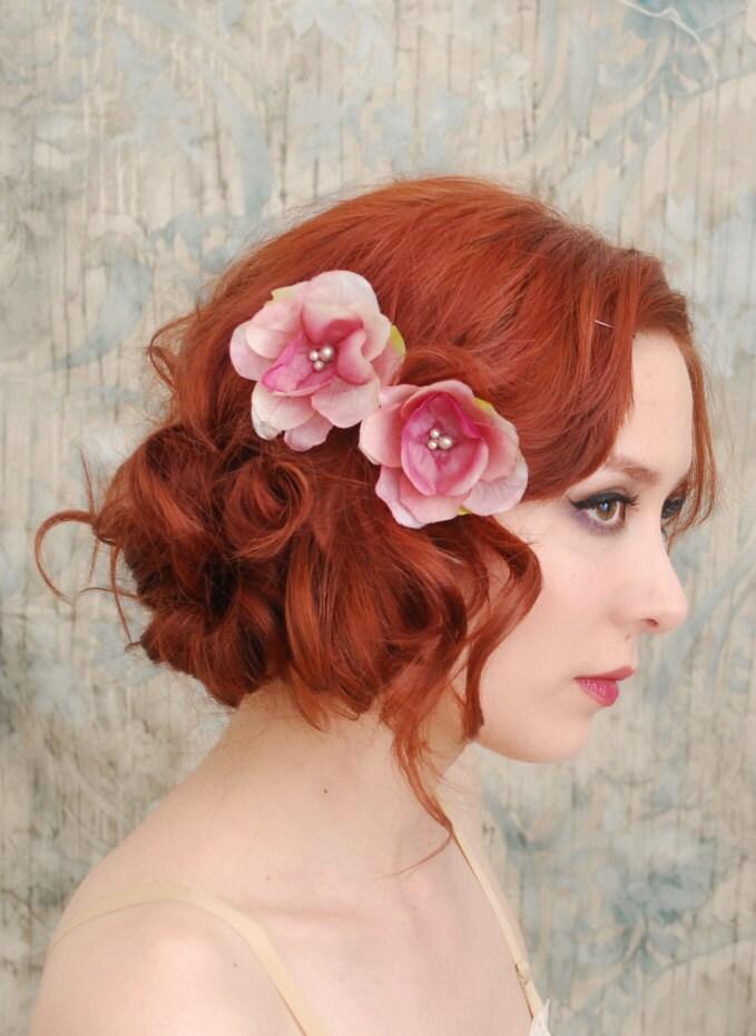 Flower Bobby Pins Pink Floral Clip Set Bridal Hair Pins