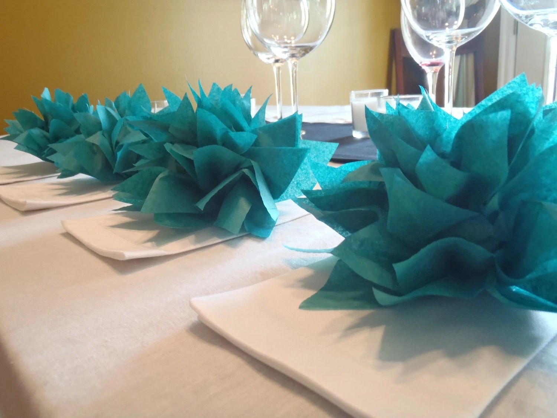 25 Teal Paper Dahlia Napkin HoldersEco Wedding Hip Parties