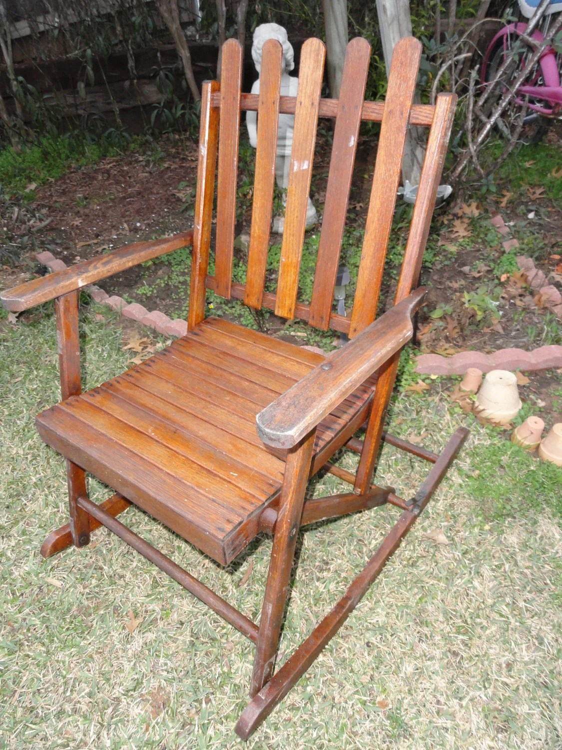 antique folding rocking chair chicco lime green high vintage wood slats 1930s rustic lodge