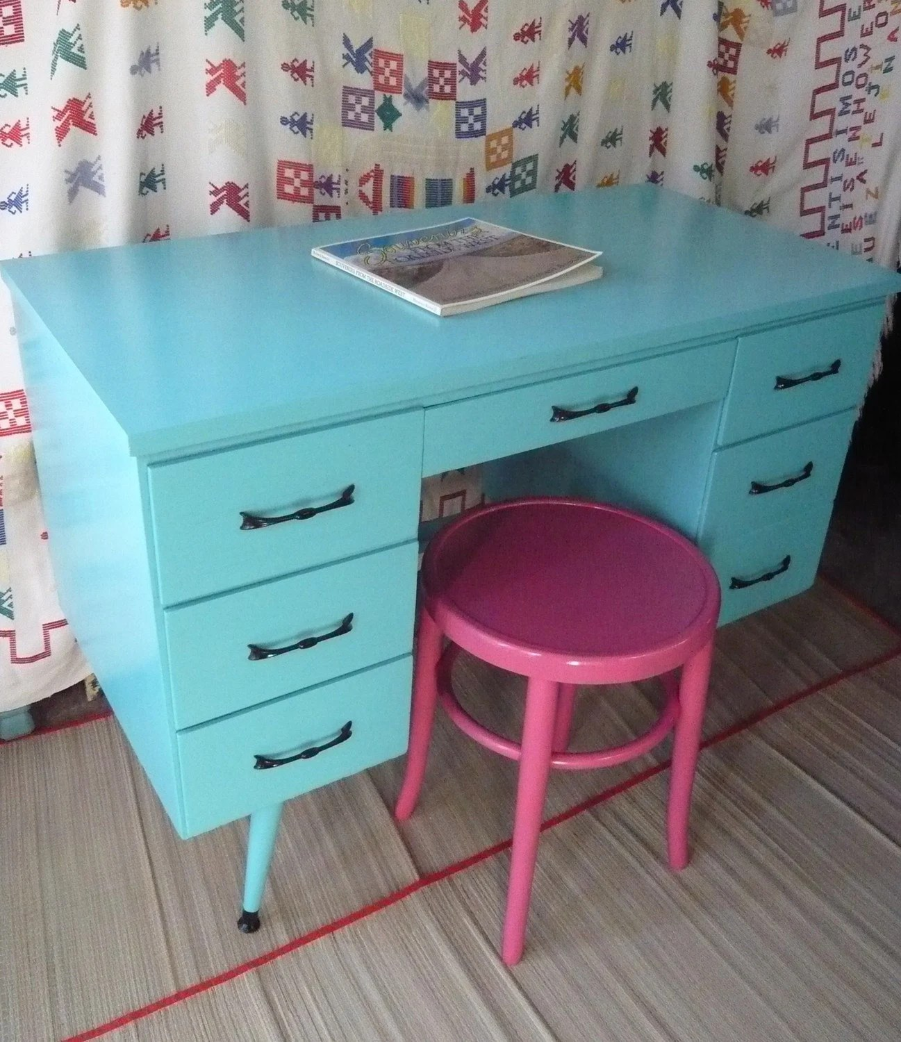 Turquoise Desk Chair Calypso Retro Desk Vintage Painted Furniture Turquoise Beachy