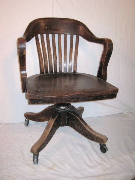 wooden office desk chairs Bankers Chair Vintage Heavy Wood from 1930 or 40s Office Desk
