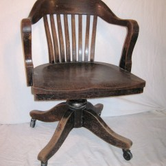 Wooden Office Chair La Z Boy Warranty Bankers Vintage Heavy Wood From 1930 Or 40s Desk