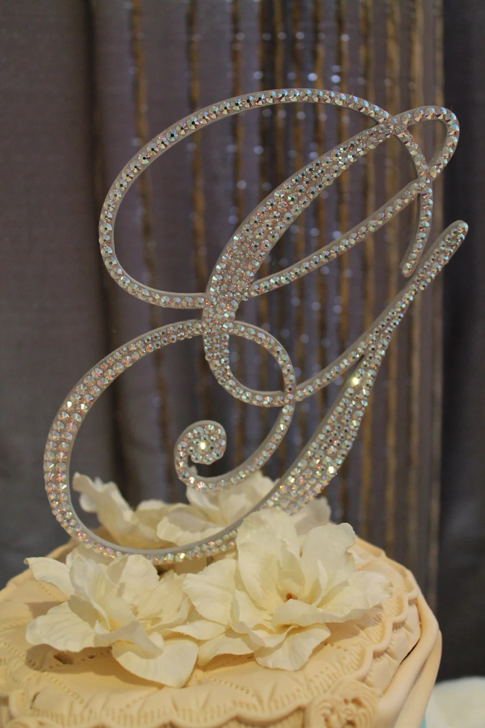 Items Similar To 6 Crystal Monogram Wedding Cake Topper