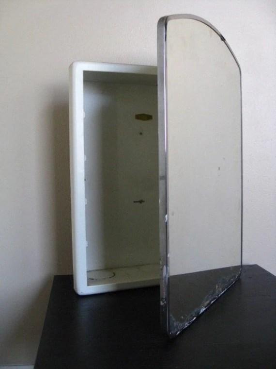 Vintage Metal Bathroom Medicine Cabinet and Mirror