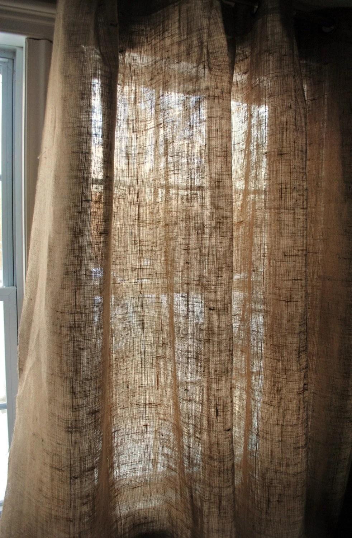 Burlap Curtain Panel with Grommets by PaulaAndErika on Etsy