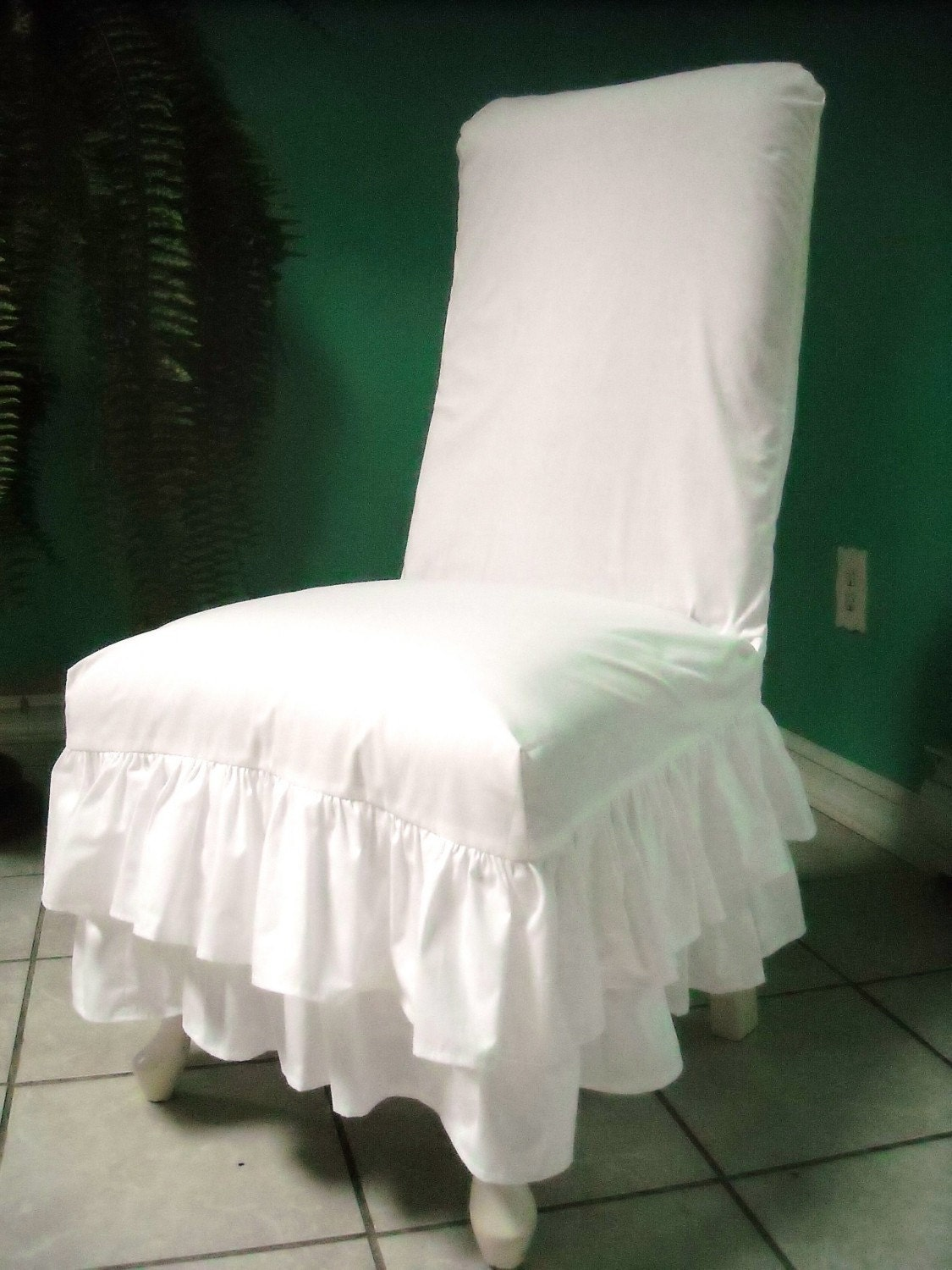 White Chair Slipcover White Ruffled Chair Slipcover By Paulaanderika On Etsy