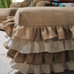Burlap Chair Covers Ideas Lay Down Ottoman Cover