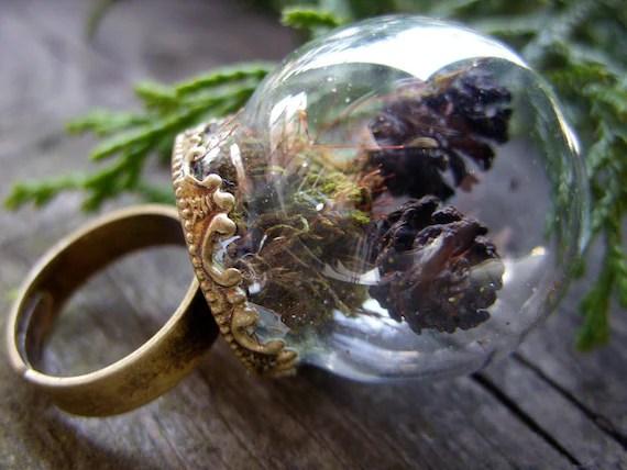 Items similar to mini terrarium ring miniature terrarium jewelry moss pinecone woodland green