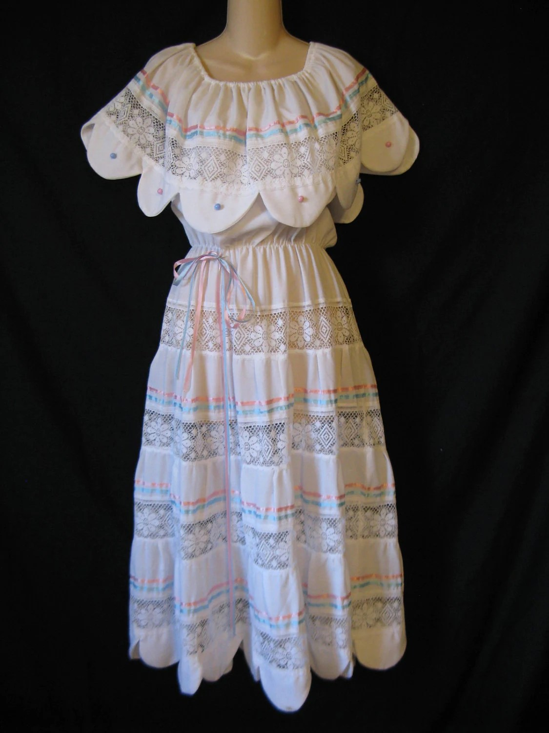 1970s white mexican wedding dress boho lacy tiered